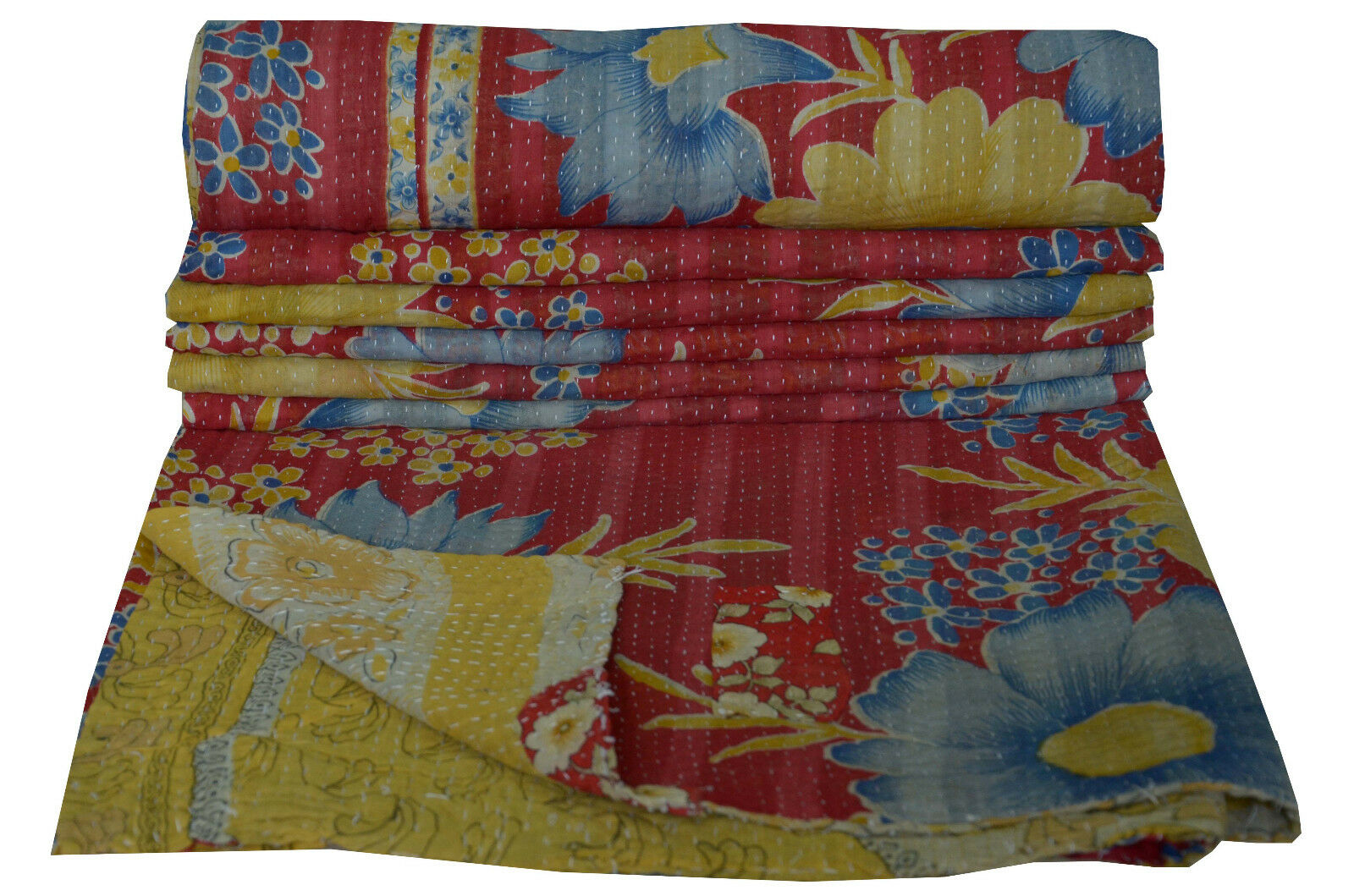 Indian Cotton Gudri Vintage Kantha Quilt Twin Throw Floral Bedspread Home Decor