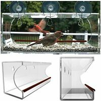 Large Window Bird Feeder Clear Acrylic See Thru Home, Office, Dorm, Cabin