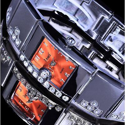 Kleine Fame Damenuhr Armbanduhr Uhr Orange Silber Farben Metall Strass Si 2