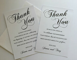 Personalised-THANK-YOU-Cards-amp-envelope-Wedding-or-Engagement-black-white