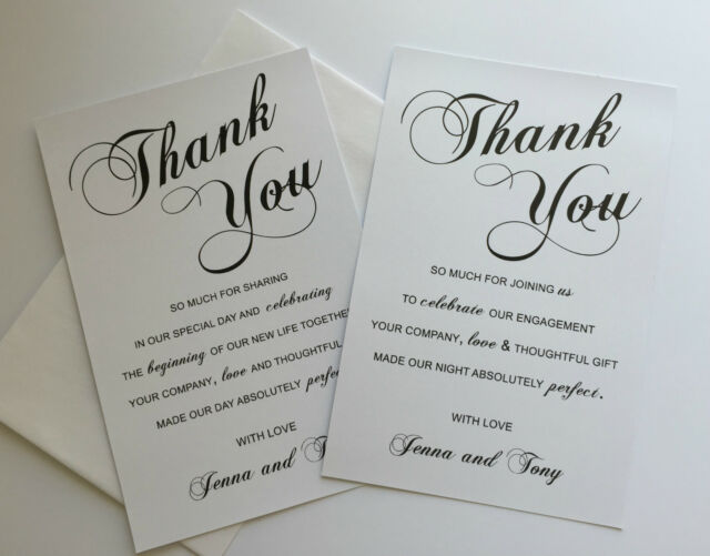 Personalised THANK YOU Cards & envelope Wedding or Engagement black white