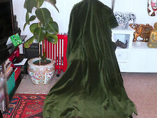 """LOVELY VINTAGE GREEN COTTON VELVET CURTAINS 66""""Wx71""""-LINED-NICE SHABBY CHIC"""