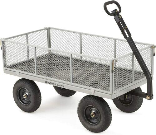 "Garden Wagon Utility Cart Outdoor Steel 13/"" Pneumatic Tires Durable Removable..."