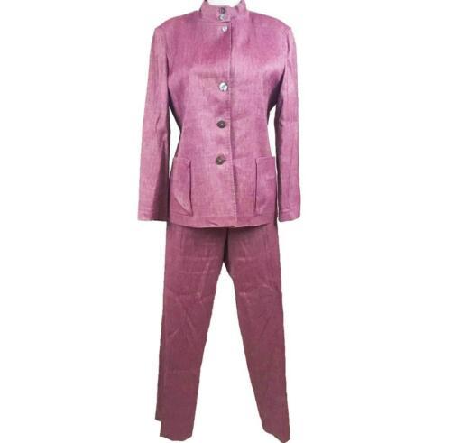 JIL SANDER: Berry Pink, Wool/Linen Blend, Pant Sui
