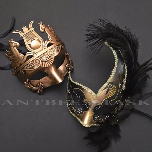 Couple Black Gold Greek Warrior Masquerade Feather Prom Ball anniversary Mask