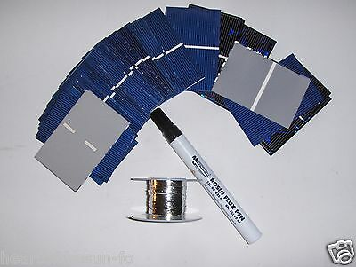 40 2x3 solar cells (52x76mm)20 watt solar panel kit, cells,flux pen,tabbing wire