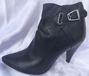Ladies-Size-7-5-Black-High-Heel-Ankle-Boot