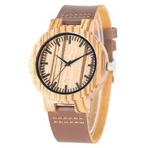 Wooden-Watch-Leather-Strap-Natural-Bamboo-Quartz-Watch-Polish-Analog-Dial