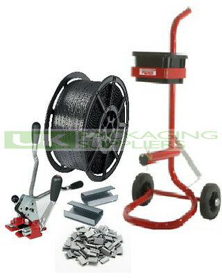 HAND PALLET STRAPPING BANDING KIT 12MM COIL + MULTI COMBO TOOL + SEALS + TROLLEY