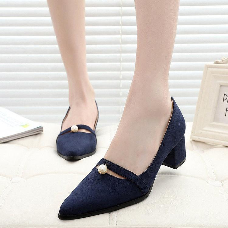 2018 Women's Mary Janes Pointed Toe Mid Heels shoes Chunky pumps Fashion Loafers