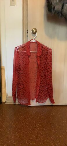 Equipment Red Poppy Silk Button Dowm Size S Small