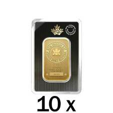 10 x 1 oz Gold Bar RCM - New Design in Assay - Royal Canadian Mint