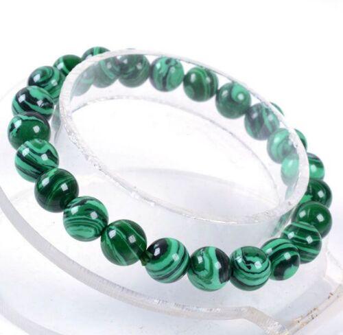 "Fashion 10 mm Vert Malachite Round Gemstone Beads Bracelet 7.5/"""