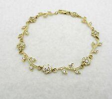 """Beautiful 14k Yellow Gold Flower Shape Bracelet 8"""" long"""