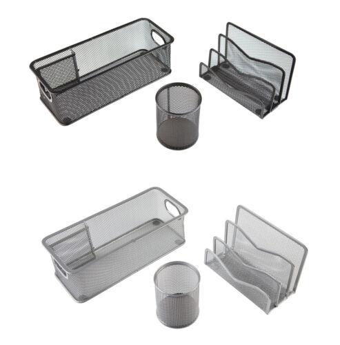 3-teilig Köcher und  Briefständer schwarz oder silber Büro-Set Utensilienbox