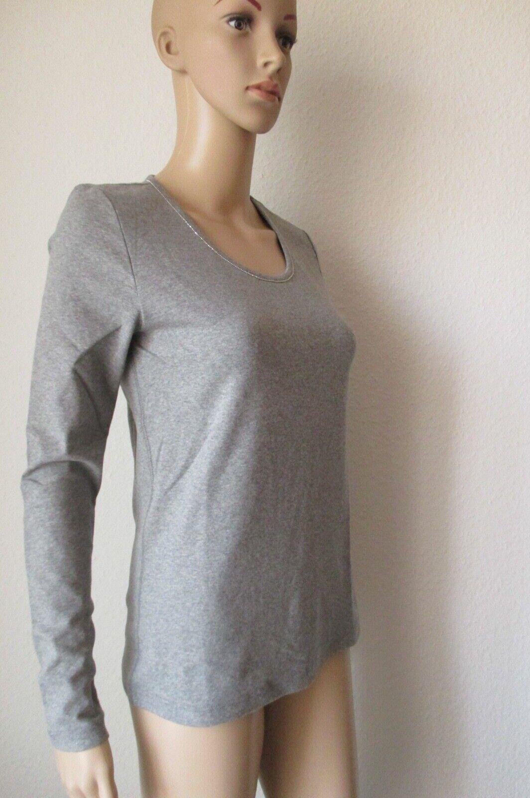 Efixelle Shirt mit Rundhals Ausschnitt, langarm, Farbe grau, Größe 44