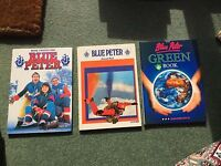 3 Vintage Blue Peter annual books no 11 - 1975, 21 - 1985 and Green book 1990
