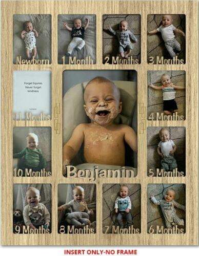 """No Frame Baby First Year Personalized INSERT Holds Twelve 2.5/"""" x 3.5/"""" Photos"""