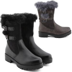 Stivali-donna-stivaletti-con-fibbie-e-pelliccia-scarpe-anfibi-G318