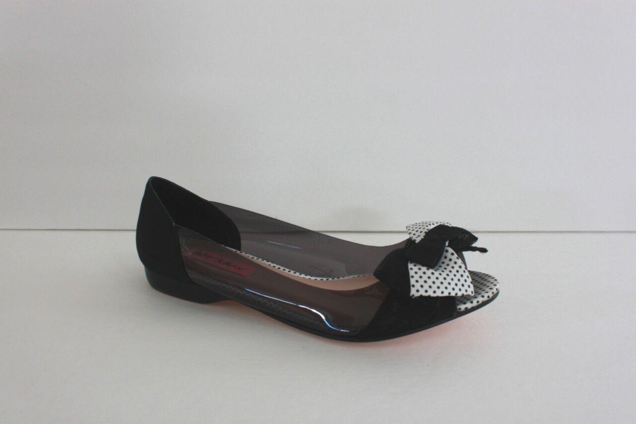 Betsey Johnson Daaisy shoes Size 7 7 7 M Black Textile Plastic Ballet Flat Sandal NIB 198093