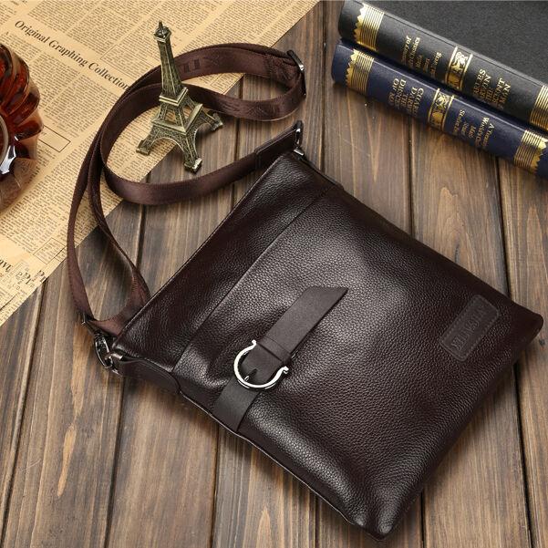 Men's Genuine Real Leather Briefcase Shoulder Messenger School Book Bag Satchel