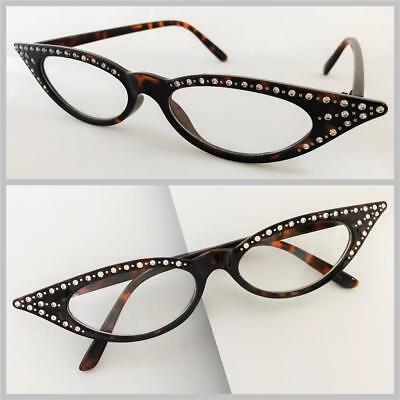 b130bc55558 Classy Elegant RETRO Cat Eye BLING Style Clear Lens EYE GLASSES Tortoise  Frame