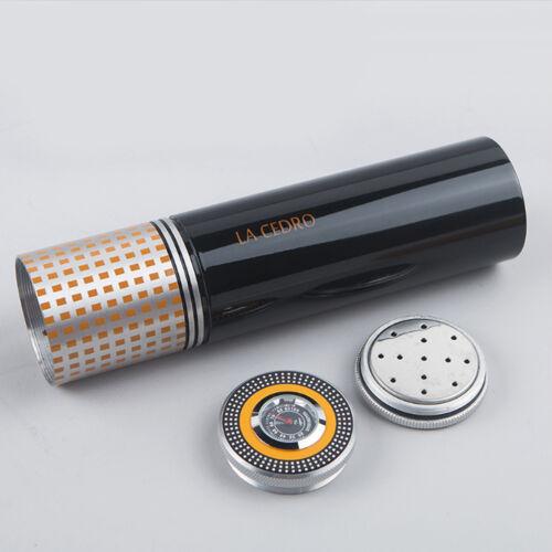 LA CEDRO Black Portable Travel Cigar Hydrating Tube//Humidor With Hygrometer