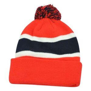 4043a9ca42b27 Plain Blank Striped Cuffed Thick Beanie Pom Pom Knit Skully Red Blue ...