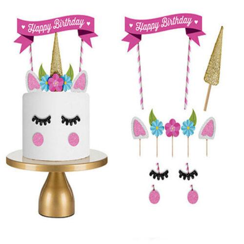 11Pcs Unicorn Happy Birthday Party Cake Topper Set eyes ear Kids Decoration VC