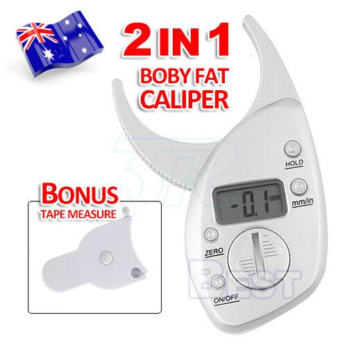 Digital LCD Body Fat Calipers Skin Fold Fitness Weight Loss Free Tape Measure