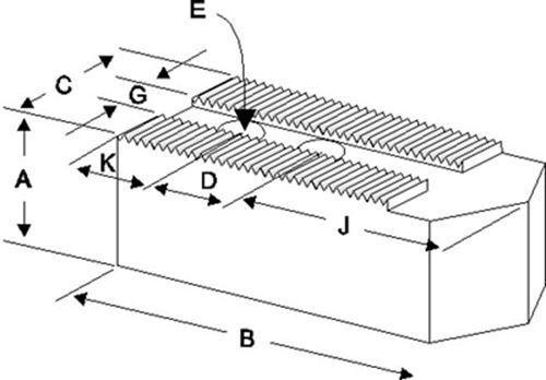 """K3-21400P STEEL SOFT JAWS FOR 3.0mm x 60° SERR 18-21/"""" CHUCK W//A 4/"""" HT 3PC SET"""