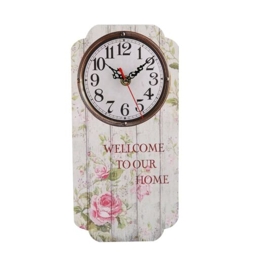 Details about  /Wall Clock Battery Powered Hanging Clock Household MDF for Bedroom Living Room