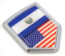 USA El Salvador split style Flag Car Chrome Emblem Decal 3D Sticker