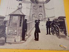1890s OR EARLIER   --  STEREOVIEWCARD BANGOR SUSPENSION BRIDGE Superb engineer