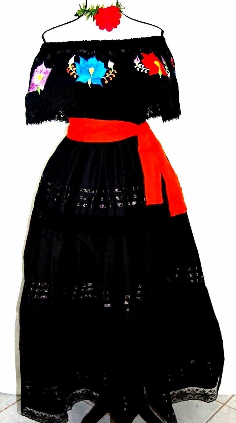 5 de Mayo Mexican schwarz Maxi Dress 3 pc w sash Floral Adelita Wedding Embroidery