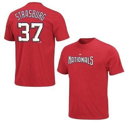 Mlb Baseball Name&number T-shirt Washington Nationals Strasburg #37 Red Letzter Stil Fanartikel