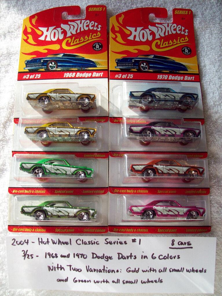 2004 caliente rueda classeics Series 1 3 25 1968 70 Dodge Dart in 6 Colorees 8 auto set