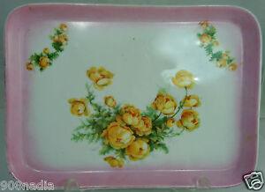 VINTAGE-PORCELAIN-VANITY-TRAY-WHITE-PINK-YELLOW-ROSES-BEAUTIFUL