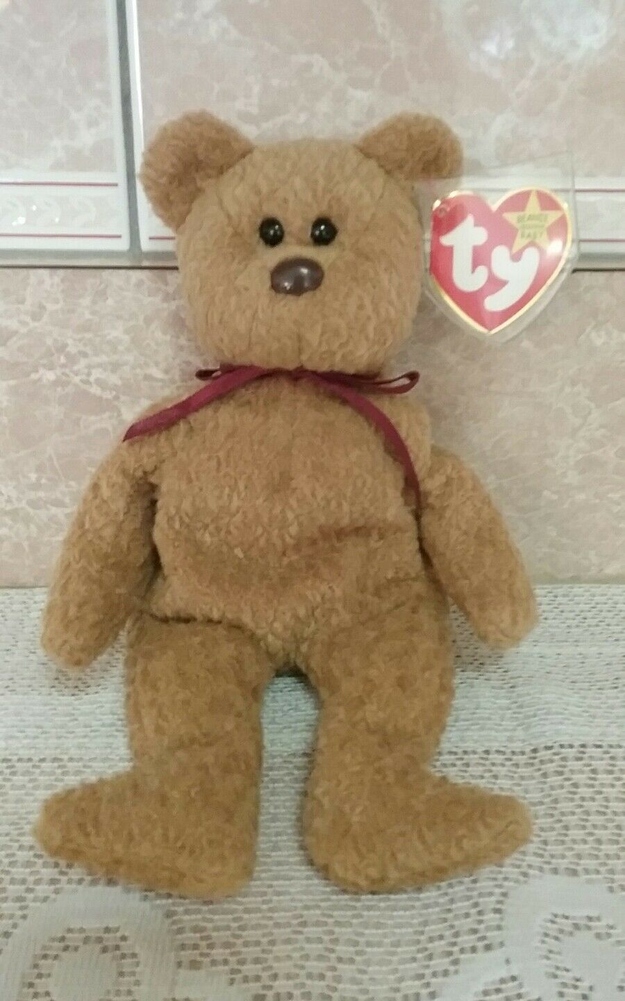 EXTREMELY RARE Ty Beanie Baby 'Curly' Retired Bear with MANY Errors  True Gem