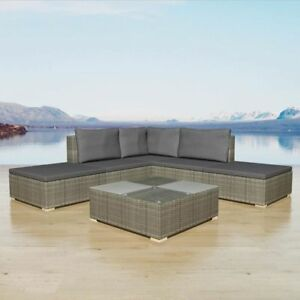 Image Is Loading VidaXL Garden Sofa Set 15 Piece Rattan Wicker