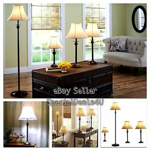 4 Piece Lamp Set Light Floor Table Accent Lamps Vintage