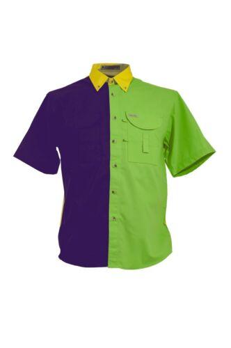 Mardi Gras Men/'s Fishing Shirt Short Sleeves