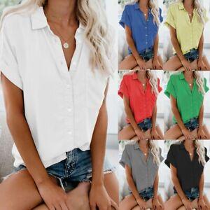 Women's Short Sleeve Button Down Blouse Lapel Shirt Summer Casual Tee Tops