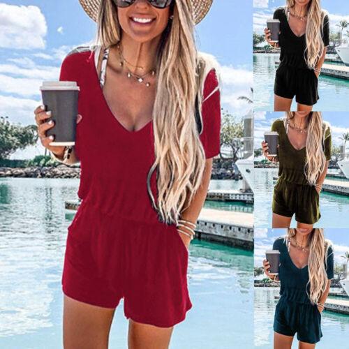 Lady V-Neck Short Sleeve Pocket Playsuit Women/'s Casual Summer Jumpsuit Romper