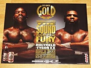 MIKE-TYSON-vs-EVANDER-HOLYFIELD-II-POSTER-ST-IDES-BEER-in-MINT-1997-VINTAGE