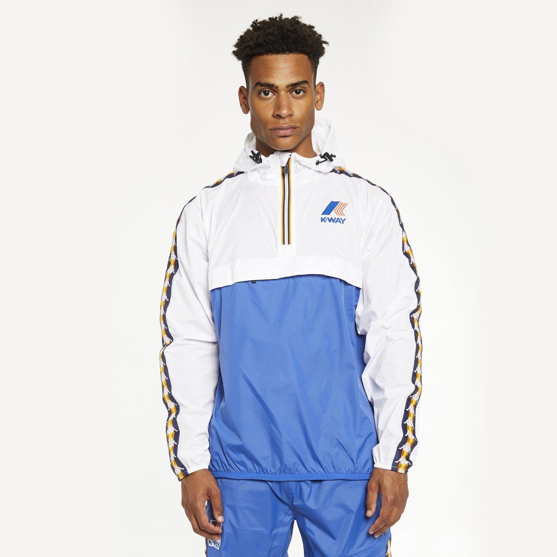 0a838a025d K-way X Kappa Levrai Leon Banda Royal Blue Shiny Nylon Retro Anorak Jacket  M/l