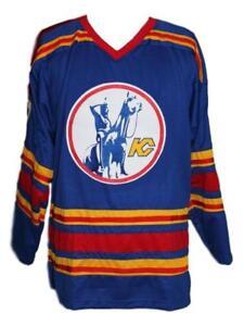 Custom-Name-Kansas-City-Retro-Hockey-Jersey-New-Blue-Charron-Any-Size