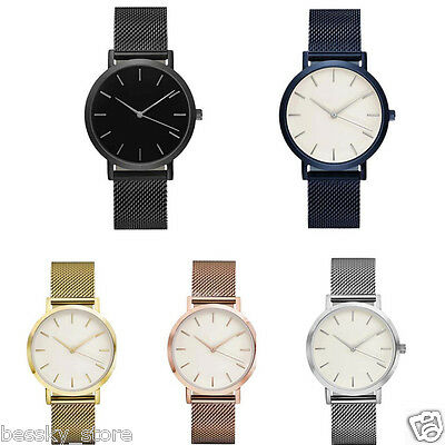 Classic Women's Men's Wrist Watch Stainless Steel Strap Quartz Business Watches