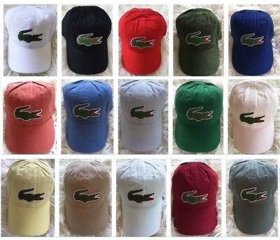 d690027f LACOSTE Mens Big Croc Gabardine Adjustable Cap Hat, PICK COLOR, Baseball  Tennis