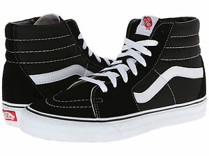 9b38af4ba9 NEW KIDS YOUTH VANS SK8-HI BLACK TRUE WHITE MEDIUM WIDTH ORIGINAL ...